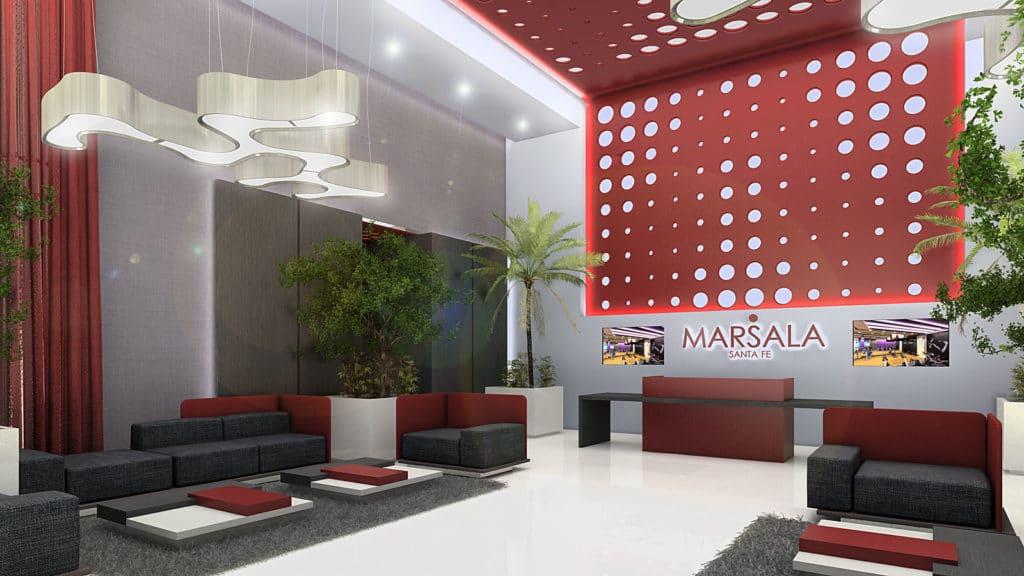 Lobby del edificio Marsala diseñado por el estudio de diseño internacional Manuel Torres Design