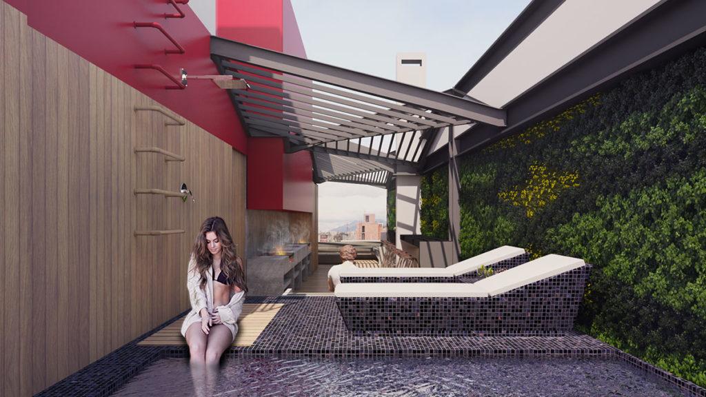 Terraza del edificio Blit donde se ha desarrollado un proyecto integral de arquitectura e interiorismo por Manuel Torres Design en Bogotá