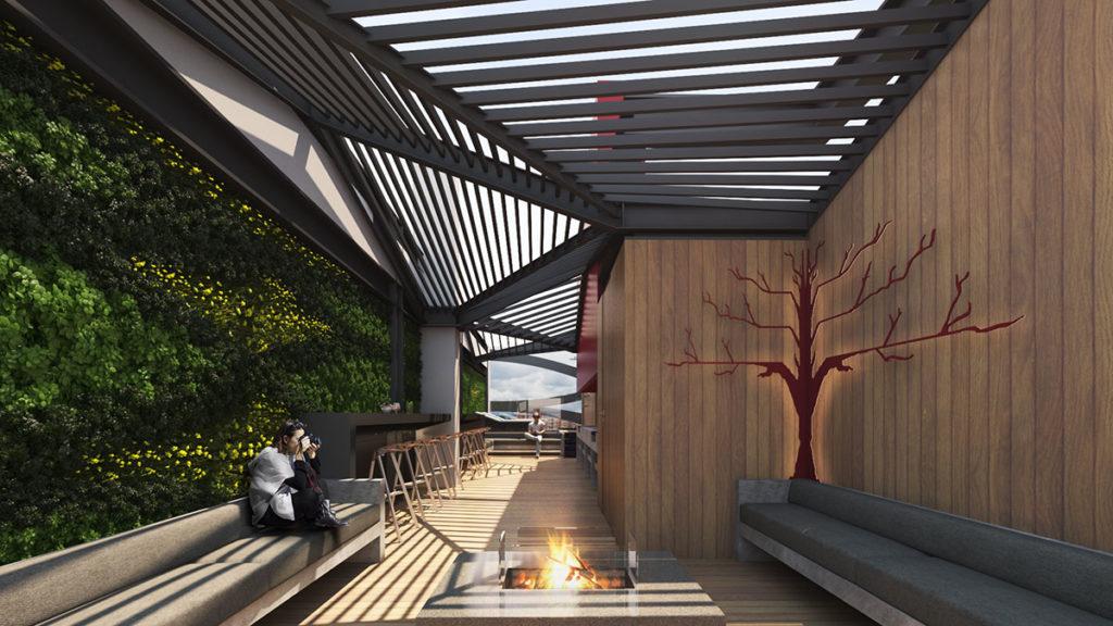 Imagen de una de las terrazas del edificio Blit donde se ha desarrollado un proyecto integral de arquitectura e interiorismo por Manuel Torres Design en Bogotá