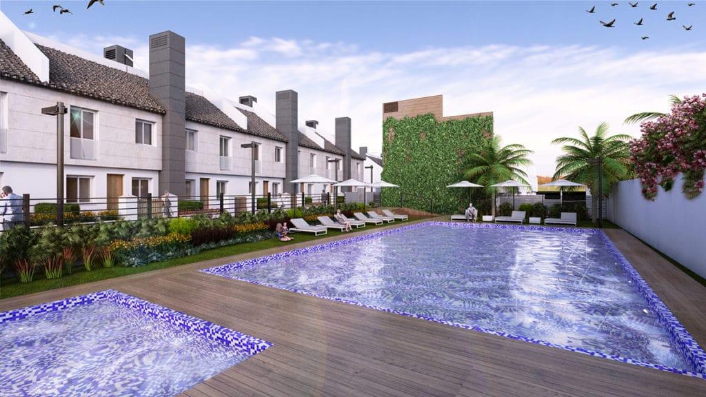 Zona exterior de la piscina del proyecto de arquitectura e interiorismo por el estudio de Diseño Internacional Manuel Torres Design