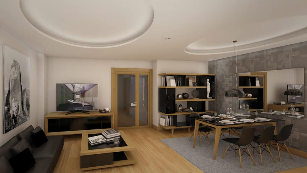 Interior de una casa donde se ha realizado un proyecto de interiorismo y arquitectura