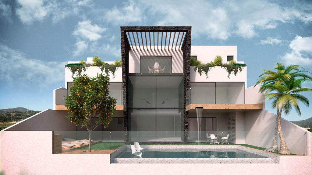 Render del diseño, arquitectura e interiorismo de una casa de lujo por parte del Estudio de Diseño Internacional Manuel Torres Design