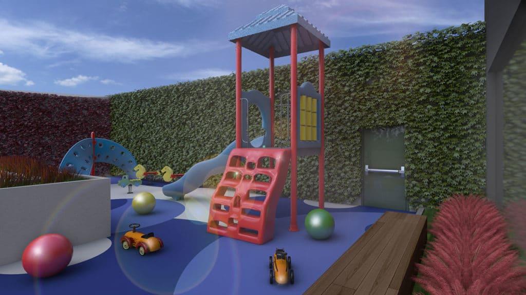 Proyecto de interiorismo integral en Ciudad de México donde apreciamos la zona infantil del Rascacielos Torre Ginebra elaborado por el estudio de diseño internacional Mahuel Torres Design
