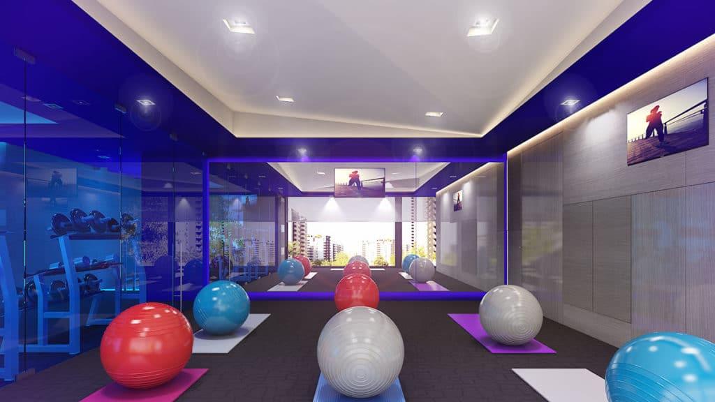 Proyecto de interiorismo integral en Ciudad de México donde apreciamos el gimnasio del Rascacielos Torre Ginebra elaborado por el estudio de diseño internacional Mahuel Torres Design