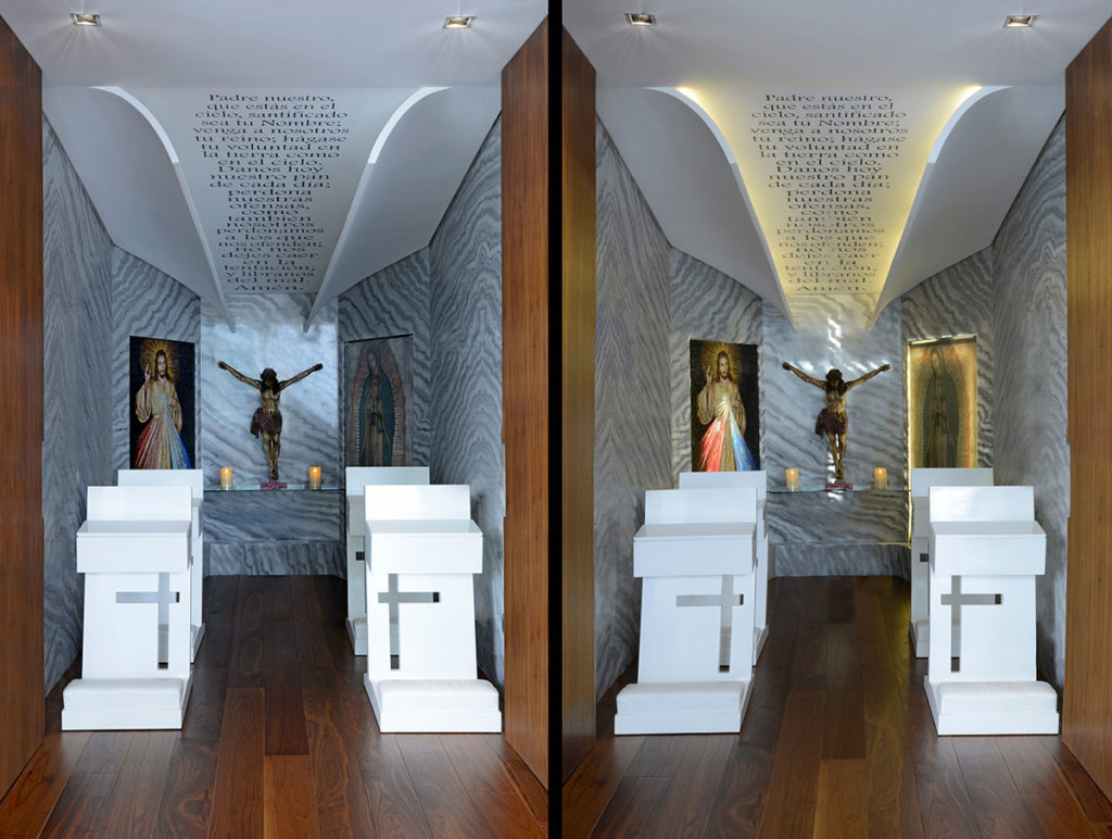 Diseño e interiorismo de una vivienda en la Ciudad de México por Manuel Torres Design donde vemos el detalle de la capilla