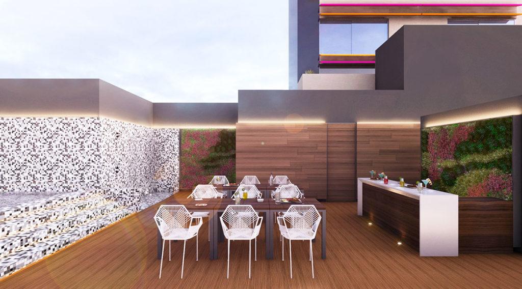 Proyecto de interiorismo integral en Ciudad de México donde apreciamos la terraza del Rascacielos Torre Ginebra elaborado por el estudio de diseño internacional Mahuel Torres Design