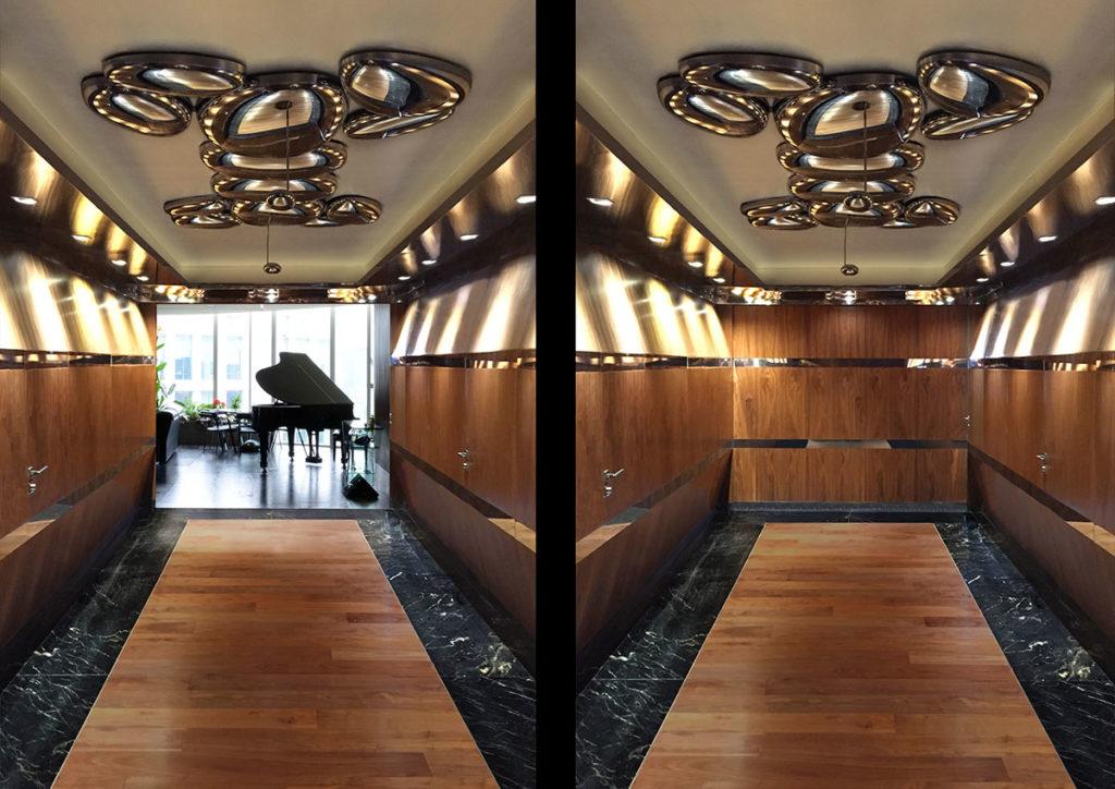 Diseño e interiorismo de una vivienda en la Ciudad de México por Manuel Torres Design donde vemos el detalle del vestíbulo