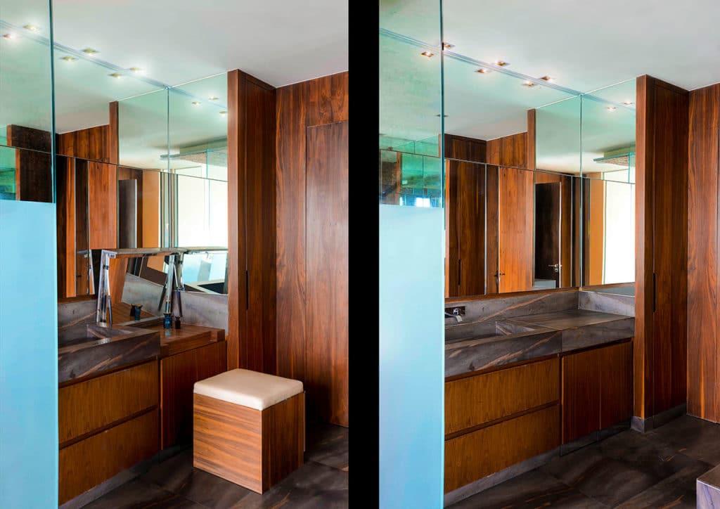 Diseño e interiorismo de una vivienda en la Ciudad de México por Manuel Torres Design donde vemos el diseño del baño