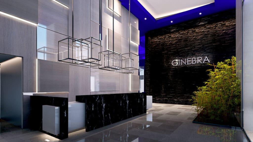 Proyecto de interiorismo integral en Ciudad de México donde apreciamos la entrada al Rascacielos Torre Ginebra elaborado por el estudio de diseño internacional Mahuel Torres Design
