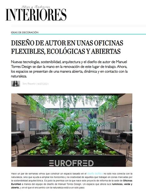 Revista Interiores recoge el proyecto de oficinas de Eurofred Group desarrollado por Manuel Torres Design
